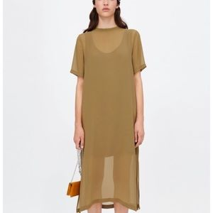 Zara Olive Semi Sheer Midi Dress Ribbed Neck L NWT